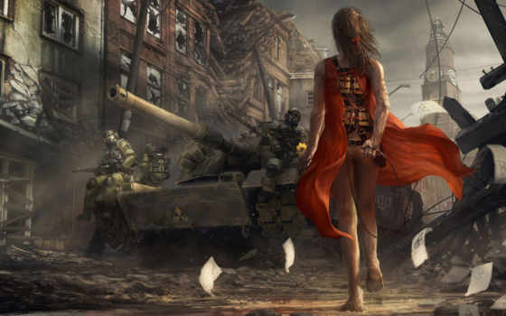 танки, постапокалипсис, германии, рисунки, фантастические,