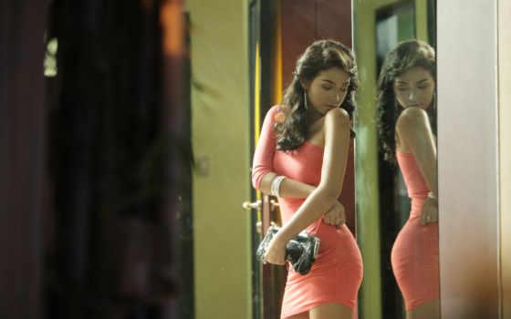отражение, зеркало, зеркале, девушка, себя, май, свое,