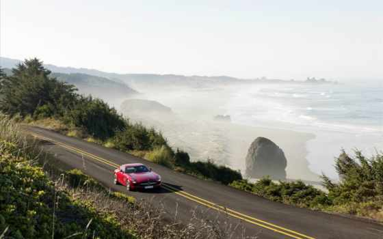 дорога, mercedes, машины, sls, авто, trees, мерседес, море,