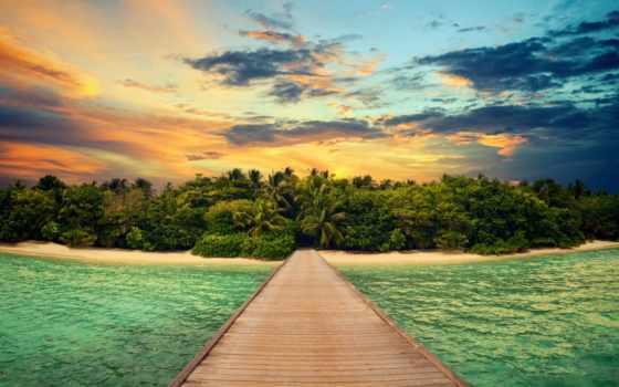море, пляж, pier, рассвет, ocean, остров, восход, закат,