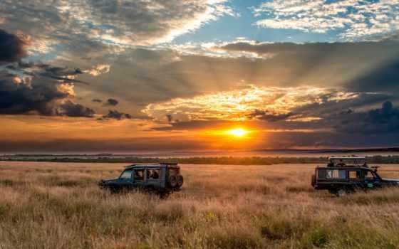 сафари, машины, горизонт, небо, закат, per, disabili, картинка, accessibili,