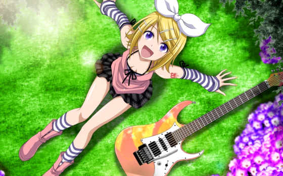 anime, гитара, девушка, desktop, музыка, free, playing,
