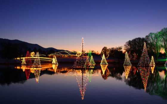 christmas, огни, пруд, salem, utah, town, дек, город,