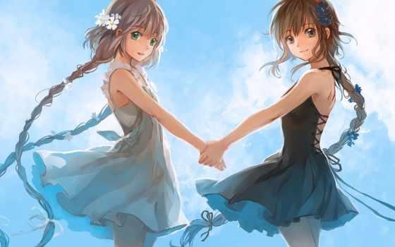 anime, vocaloid, назад, devushki, china, yuezheng, ling, подруги, два, рисунки, няшки,