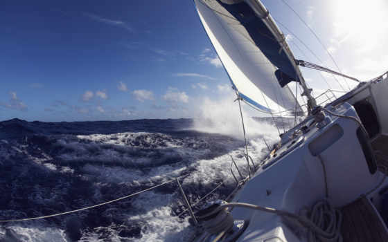 яхта, море, парус, hintergrundbilder, спорт, вода, светлые, палуба, волны, небо, леер, sailing, theme, windows, день, natur,