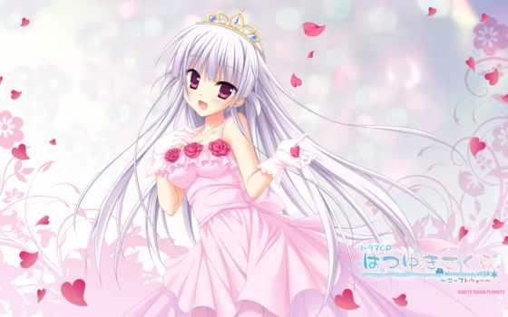 sakura, tamaki, аниме, dress, изображение, flowers, gloves, petals, rose,