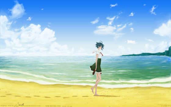 пляж, аниме