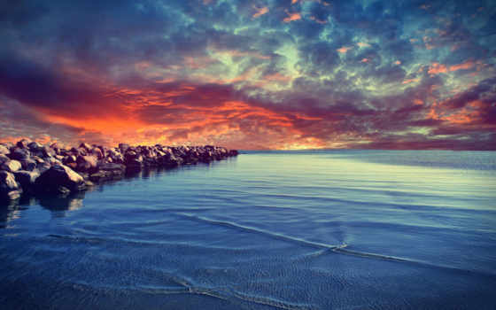 море, закат, природа
