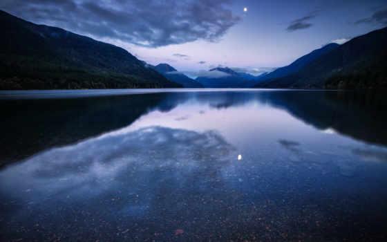 горы, озеро, отражение, ночь, water, луна, лес, небо,