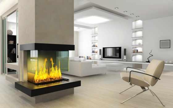 интерьер, камин, гостиной, камином, design, стиль, комната, современный, lounge,