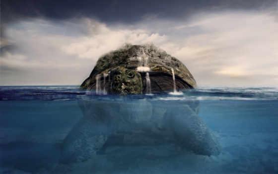 черепаха, earth, спина, création, story, туземец, американский, world, землю,