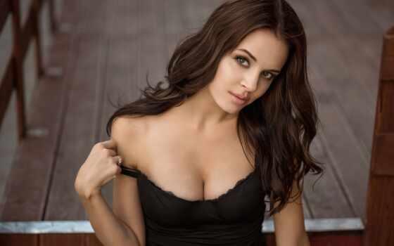 модель, девушка, cleavage, стена, фон, волосы, грудь, lip, платье, classy