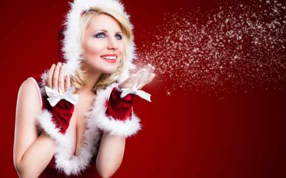 снег, снегурочка, blonde, радость, голубоглазая, масть, девушка, улыбка, new,
