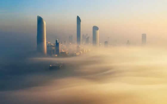 abu, dhabi, восход, город, sandstorm, engulfed, free,