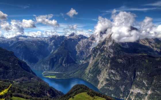 alcatel, альпы, баварские, озеро, königssee, мар, германии, есть, от,