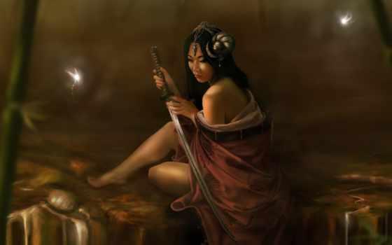 девушка, светлячки, катана, катаной, мечом, victor, oliveira, michel, японская, фэнтези, brazil, sword,