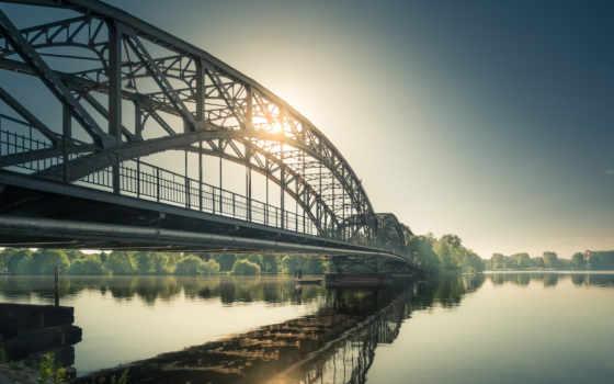 мост, солнце