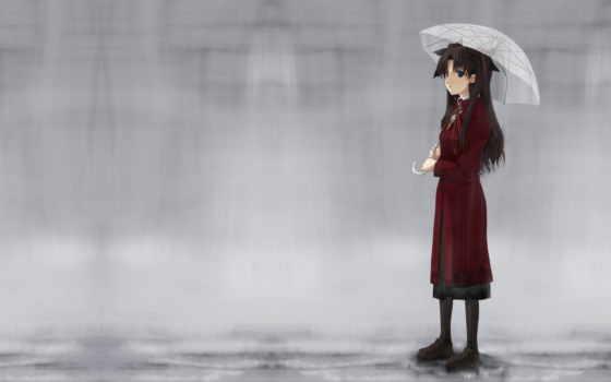 anime, дождь, деревья