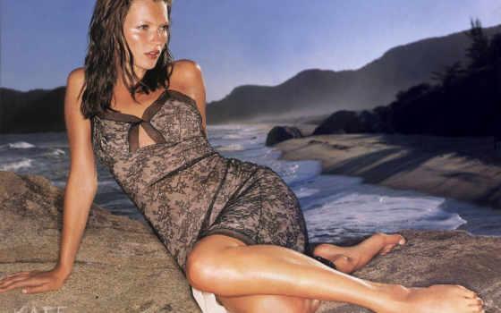 кейт, одна, мох, моделей, пляже, известнейших, мировых, красивом, пляжу, платье, черном,