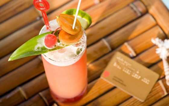 коктейль, фрукты, напиток