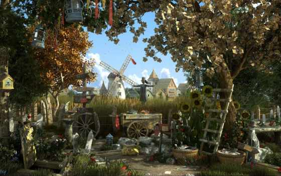 mill, поле, trees, город, art, джейсон, пугало, godbey,