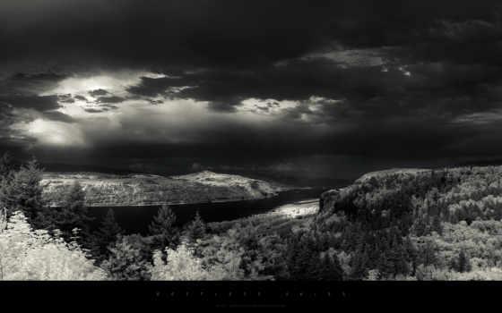 greg, martin, небо, тёмное, trees, свет, rays, река, горы, атр,