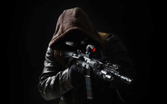 оружие, винтовка, штурмовая, спецназ, мужчина, армия, капюшон, кожаная, кофта,