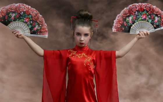 девушка, стиль, фон, картинка, desktop, red,