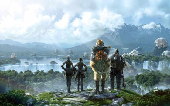 final, fantasy, xiv, сказочный, мир, герои, пейзаж, square, облака, online, горы,