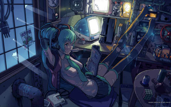 hatsune, vocaloid, miku, anime, bored, desktop, computer, изображение, computers, similar, tie, blue, window, headphones, tags, yasumori,