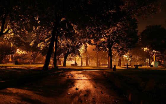 вечер, фонари, город