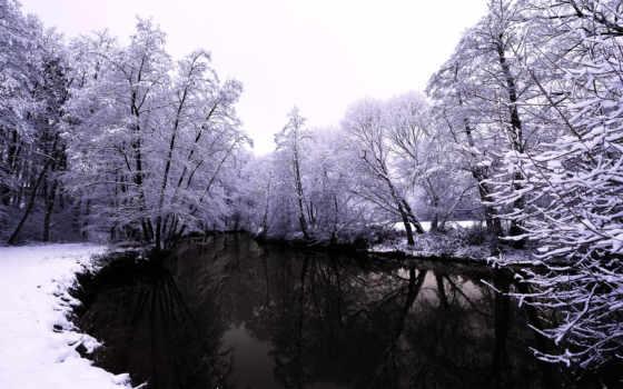 озеро, зимой, тёмное