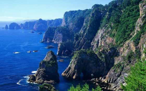 горы, ocean, берег