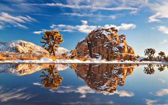 снег, winter, дек, дерево, landscape, пейзажи -, природа, зимние, небо, trees, горы,
