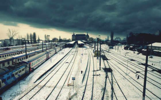 железная, дорога, winter, станция, провода, поезда, loneliness, тучи, город,
