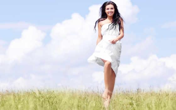 белом, девушка, платье, поле, barefoot,