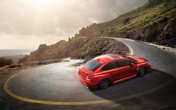 , горы, машина, красный, дорога