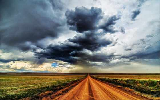 небо, landscape, дорога