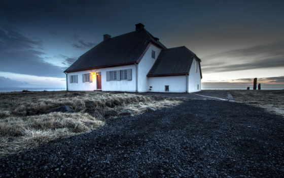 house, картинка, trees, iceland, wood, landscape, небо, осень, android,
