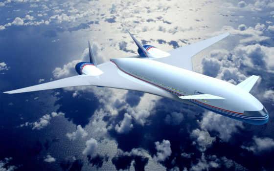 самолёт, небо, облака
