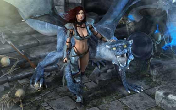дракон, девушка, черепа Фон № 59740 разрешение 1920x1200