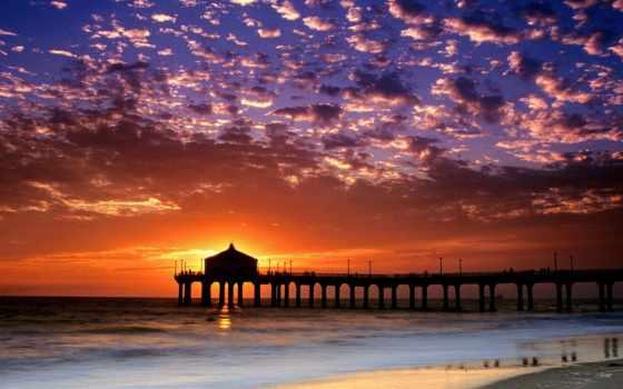 california, пляж, закат