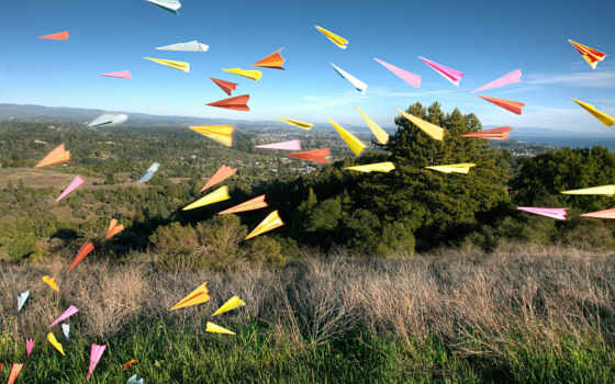 бумажные, самолетики, оригами