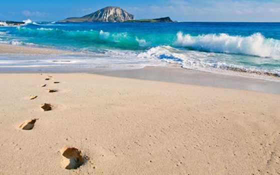 ocean, тихий, острова, природа, hawaii, пляж, море, скалы, oblaka, рисунки, сша,