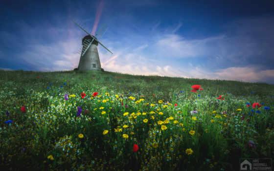 mill, разное, whitburn, мельницы, ветряк, world, заставки, landscape,