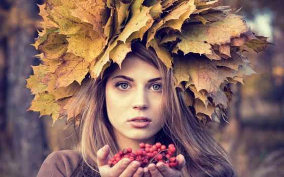 девушка, веночком, осень, голове, руках, рябиной, статуэтка, рябина, разрешениях, разных, ягоды,