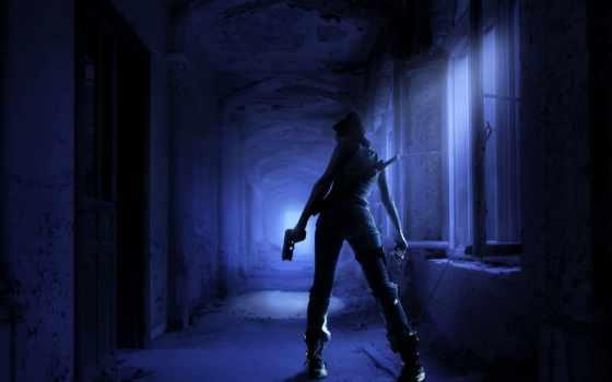 убийца, девушка, оружие, меч, ночь, пистолет, коридор, мрачно,
