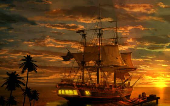 корабль, пиратский, art, краска, стена, print, fantasy, canvas, home, пиратский, декор