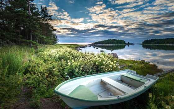 лодка, закат, озеро, pazlyi, submit, природа, ocean, straight, категория, во