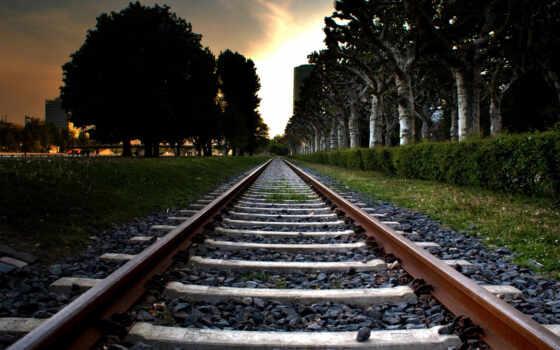 город, рельсы, жд, деревья, небо, путь, железная дорога